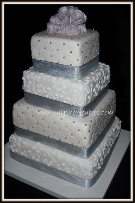 Square Wedding Cakes With Ribbon   mix magazine