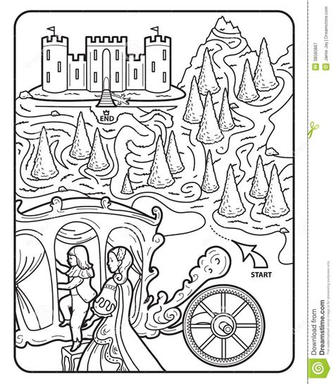 princess maze coloring page coloring book maze royal castle stock image image of