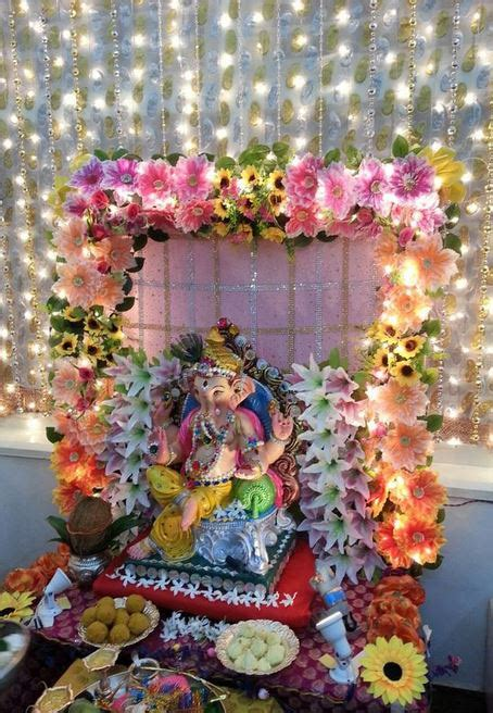 Decoration Themes For Ganesh Festival At Home Ganesh Chaturthi Decoration Ideas Ganesh Pooja Decor Ganpati Pooja Decoration At Home