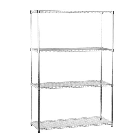 chrome shelving unit with 4 shelves 1210mm wide chrome