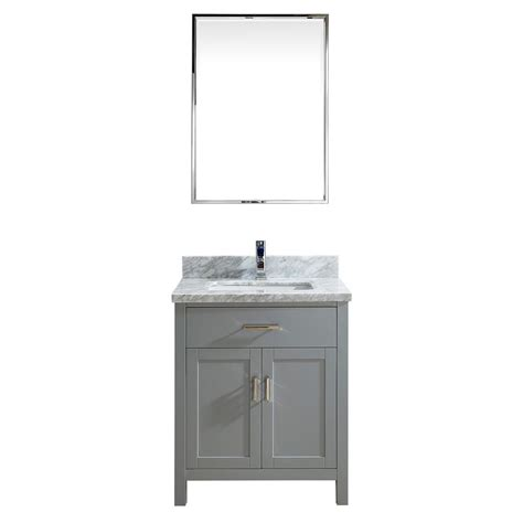 30 Inch Bathroom Vanity Cabinet 30 Inch Oxford Gray Finish Transitional Bathroom Vanity Cabinet With Mirror