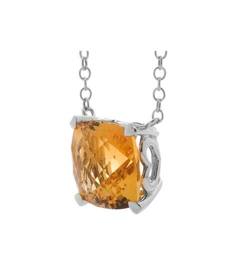 cushion cut 5 75ct citrine necklace 14kt white gold i amoro