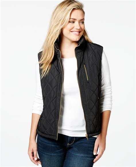 Plus Size Quilted Vest calvin klein plus size quilted vest in black lyst