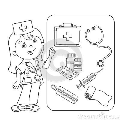 coloring book kits coloring page outline of doctor with aid kit