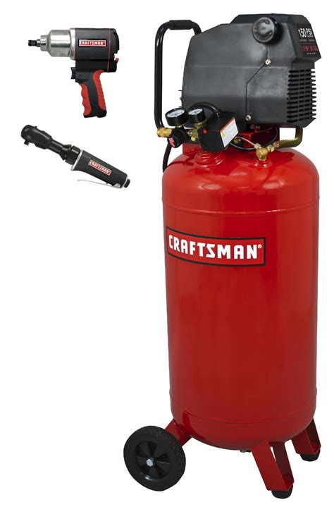 craftsman 26 gal air compressor kit with impact wrench ratchet