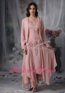 Handkerchief hem tea length mother bride dress in pink with appliques