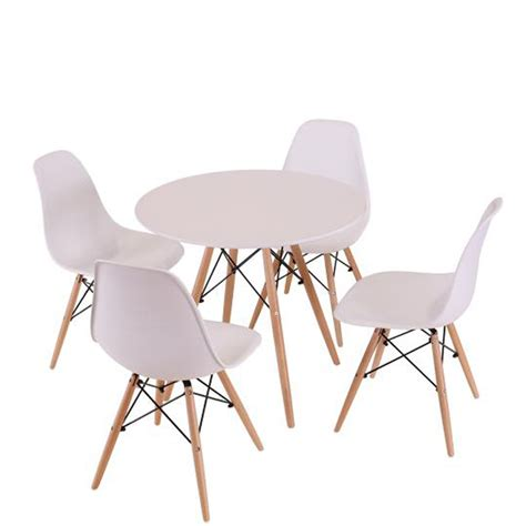 Scandinavian Kitchen Table Sets scandinavian eiffel table and 4 chairs set white iwoot