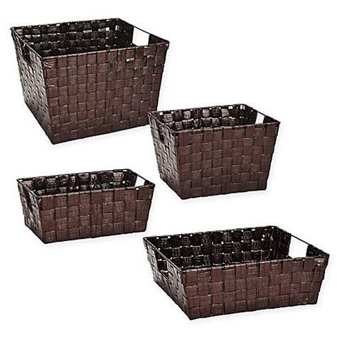 bed bath and beyond baskets woven polypropylene basket in bronze bed bath beyond