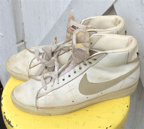 vintage high top sneakers vintage retro estate white leather nike high top sneakers