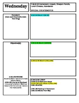 Lesson Plan Template For Block Schedule Week Time Frame By Kaytee Hill Block Schedule Template