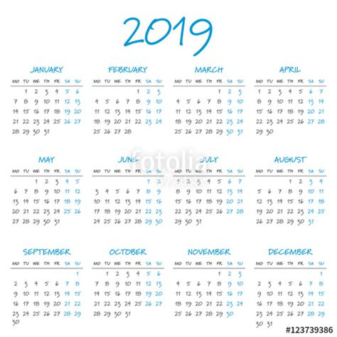Calendar 2019 With Holidays South Africa Quot Simple 2019 Year Calendar Quot Stock Image And Royalty Free