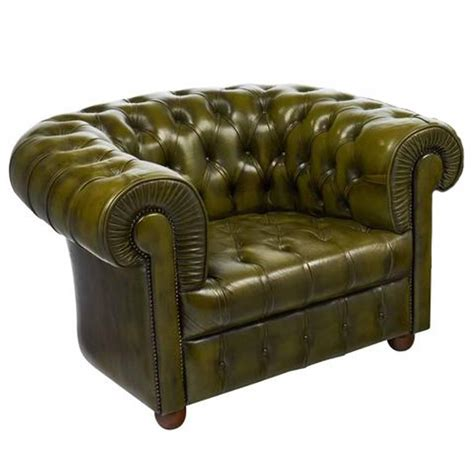 Vintage Green Leather Chair by Vintage Green Leather Chesterfield Club Chair For Sale At 1stdibs