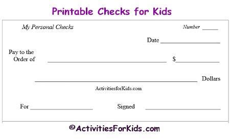 Printable Blank Checks Check Register For Kids Cheques Kids Pinterest Check Register Printable Blank Check Template
