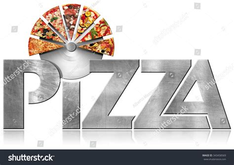 Ss U Font White pizza metal symbol with slices of pizza metallic icon