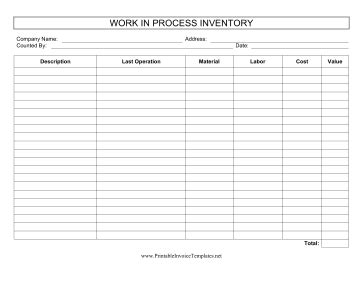 Wip Inventory Template Wip Schedule Template