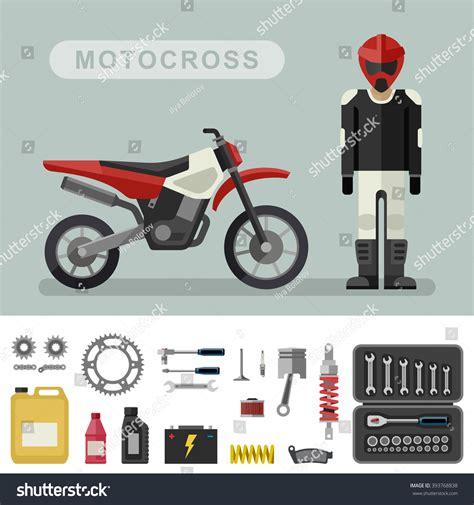 motocross bike parts motocross bike parts flat style vector stock vector