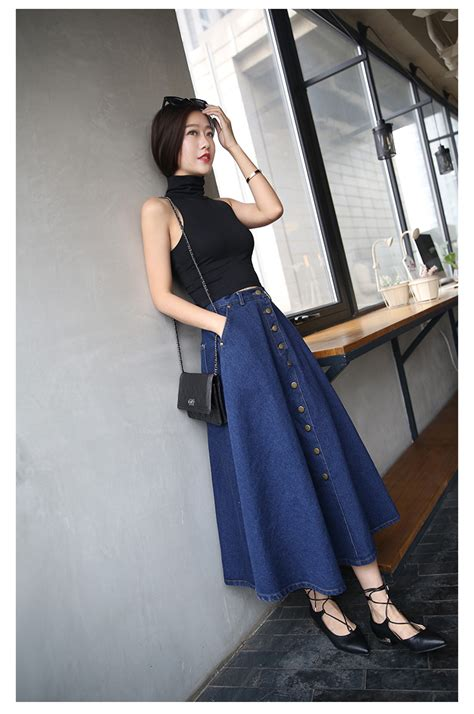 Rok Model High Waist Untuk Wanita rok denim rok pinggang tinggi besar dada wanita single
