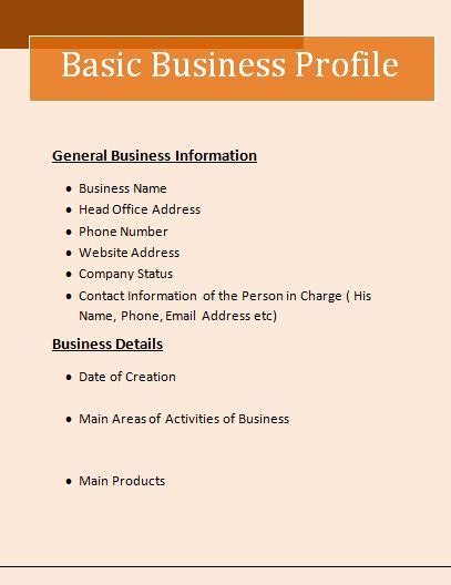 business profile format free word s templates