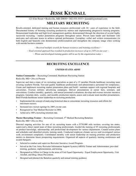 resume for recruiter position sle sidemcicek