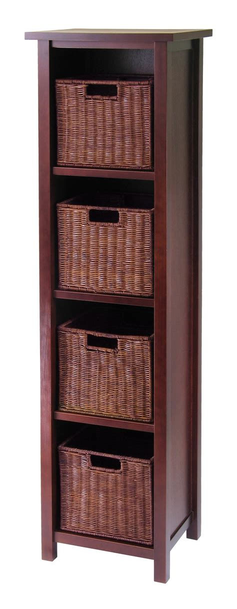 Shelf With Storage by Winsome Milan 5pc Storage Shelf With Baskets Cabinet And
