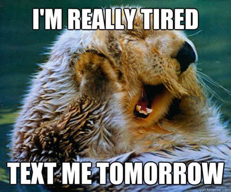 Sleepy Meme - i m really tired text me tomorrow sleepy otter quickmeme