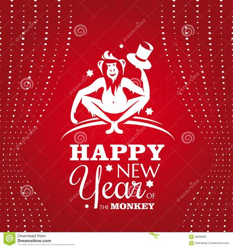 new year greetings related to monkey new year greeting card with monkey stock vector image