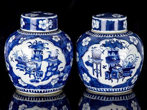blue ginger jars c1700 kangxi blue and white pair of large ginger jars ebay