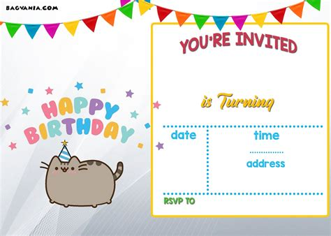download free printable pusheen birthday invitation
