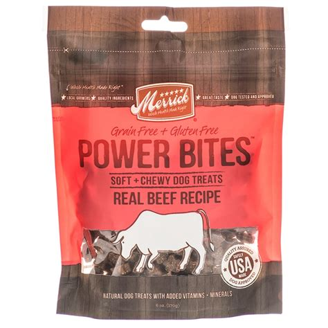 chewy treats merrick merrick power bites soft chewy treats real beef recipe made in