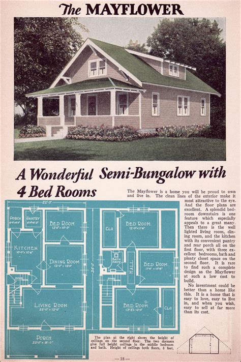 Wrap Around Porch Home Plans bungalow 1935 liberty homes lewis mfg bay city