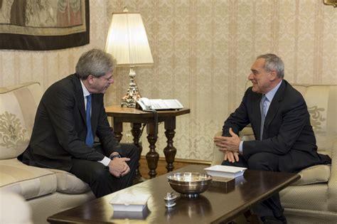 presidenti consiglio dei ministri il presidente senato visita di paolo gentiloni
