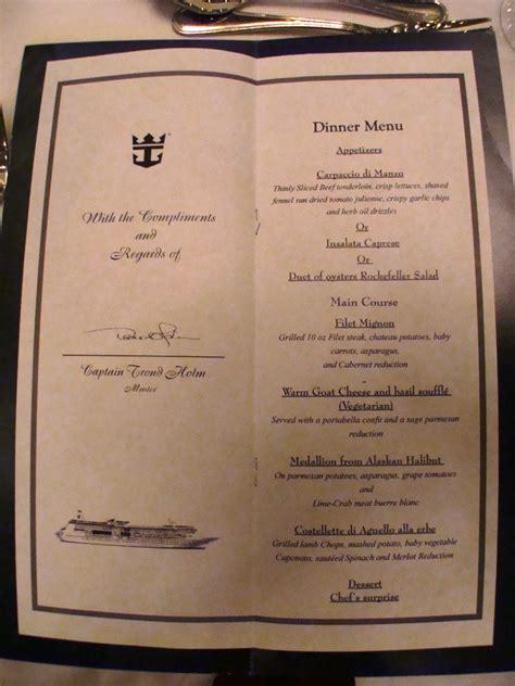 photo captains table menu grandeur of the seas album