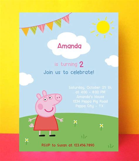 printable editable birthday cards instant download peppa pig invitation card editable