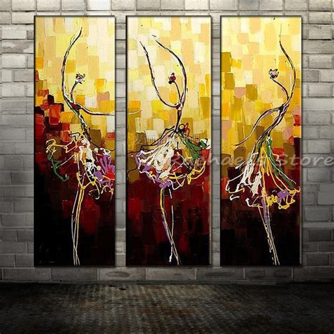 hand painted pictures abstract india dancer painting wall hand painted three panles abstract dancer canvas painting