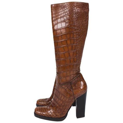 Sale Sale Sale Prada Croco Semipremi 5183 1 prada alligator croco leather boots light brown for sale at 1stdibs