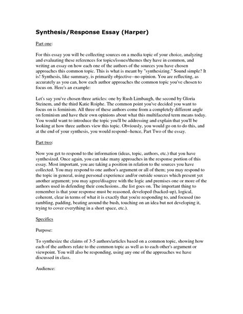 Writing A Response Essay by Synthesis Exle Essay Uxhandy