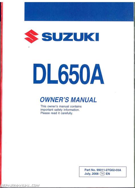Suzuki Manual 2009 Suzuki V Strom 650 Dl650a Abs Motorcycle Owners Manual