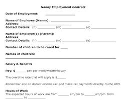 part time nanny contract template merrychristmaswishesinfo
