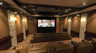 Home Columns theater with stone columns