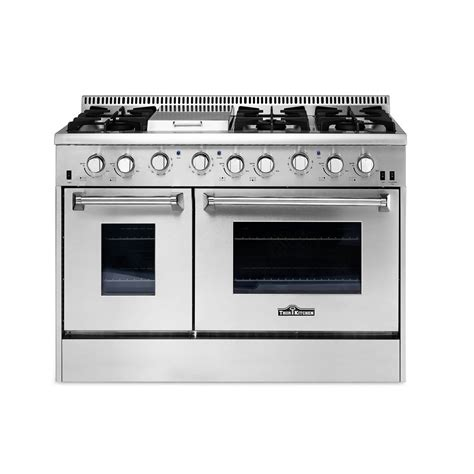 Oven Gas Stainless Steel thor kitchen 48 in 6 7 cu ft professional gas range in