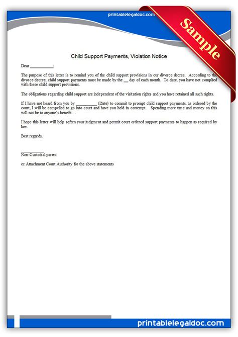 Child Support Notification Letter Free Printable Child Support Payments Viiolation Notice Form Generic