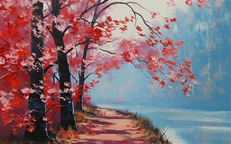 beautiful red autumn artistic work paintings