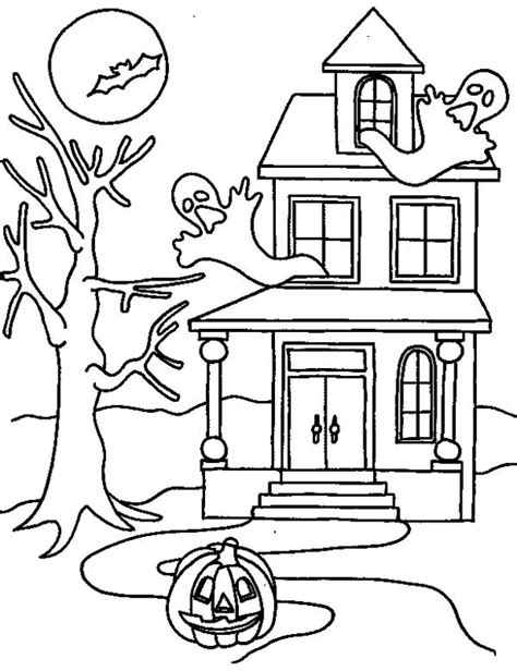 Halloween House Coloring Pages Haunted House Color Page