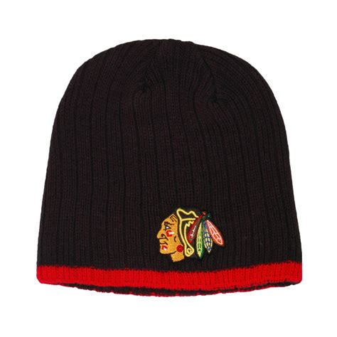 chicago blackhawks knit hat chicago blackhawks wide whale beanie knit hat