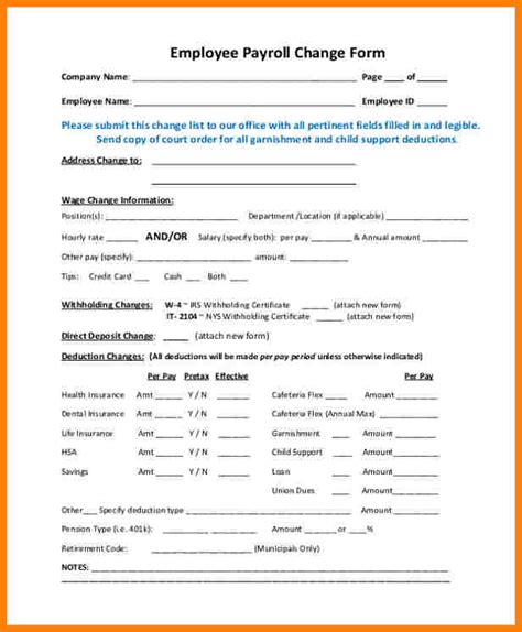 payroll change notice form template gallery of payroll change notice form template seven
