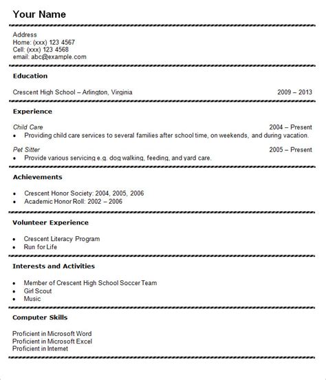 outline resume for high school student 36 student resume templates pdf doc free premium
