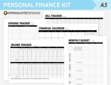 A5 Filofax Finance Printable Personal Finance Kit Monthly Sle Personal Financial Plan Template