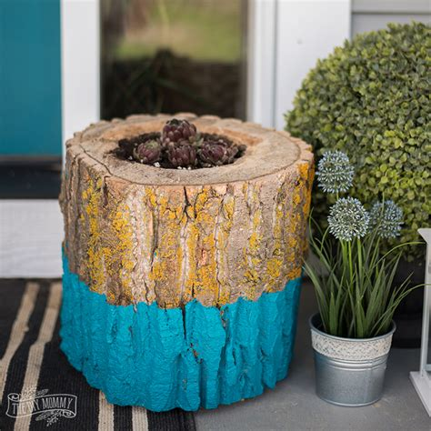make a paint dipped succulent log planter the diy