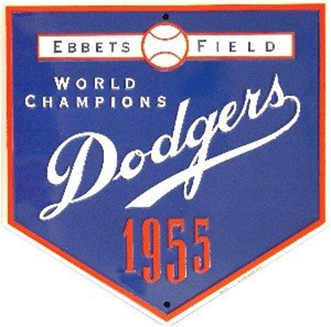 Plat No Logo Lu 8 tinsign dodgers 1955 world chions home plate