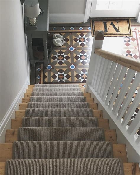 carpet for hallways and stairs hallway with original minton tiles stripped staircase and